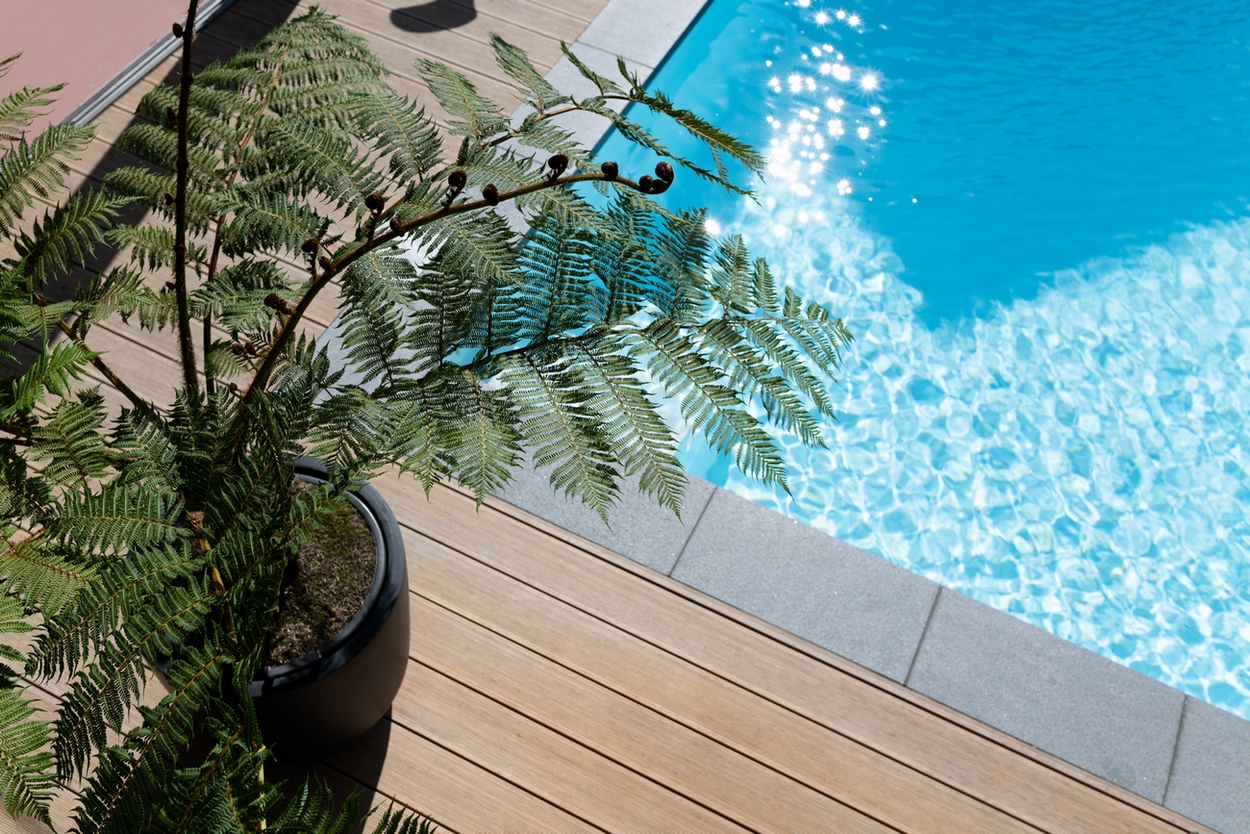 Buitenzwembad met een mooie plant en inlooptrap