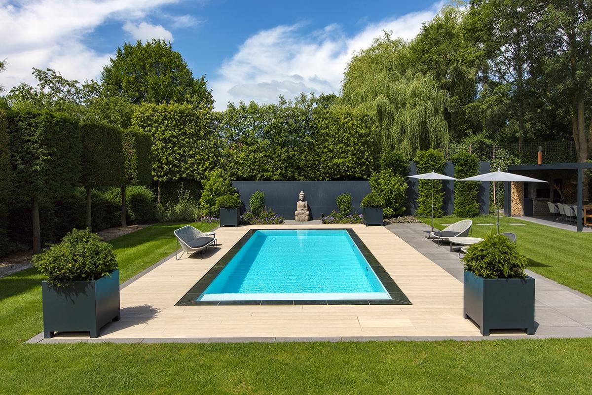Starline infinity pool in een tuin in Hierden